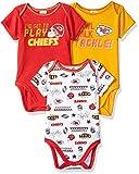 NFL Kansas City Chiefs 3 Pack Short Sleeve Bodysuit, red/yellow/white Kansas City Chiefs, 3-6 Months (137453160CHF06M-604)