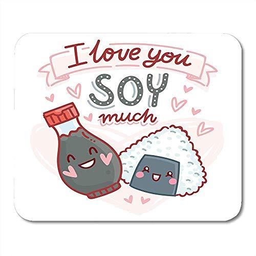 Muis Pads Bento Pun Quibble Liefde Met Sushi En Soja Saus Personages En Ik U Veel Romantische Muis Pad Voor Notebooks Computers - 9.4x7.8 inch