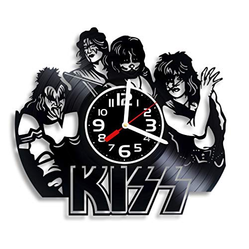 BroStore Decor Clock Compatible with Kiss Vinyl Wall Clock, Wall Clocks in Music Clubs, American Rock Band, Music, Art, Kiss Music Gift for Any Occasion