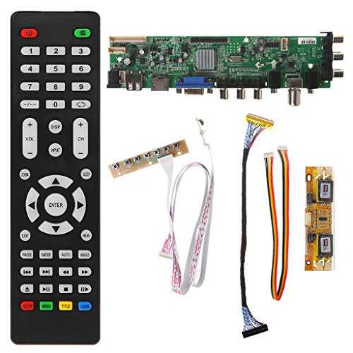 GROOMY V56 V59 Scheda Driver LCD Universale Scheda TV DVB-T2 + 7 Interruttore a Chiave + IR + 4 Lampada Inverter + Kit Cavo LVDS 3663