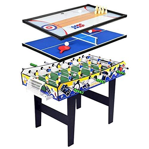 CARACHOME Tavolo multigioco 4 in 1, Calcio Balilla/biliardino Tavolo da Biliardo/Tavolo da Ping Pong da Tavolo/Gioco Air Hockey, per Giochi per Famiglie per Adulti e Bambini