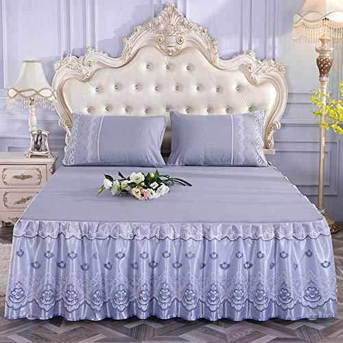 Hllhpc Vier seizoenen Europese stijl geborsteld kant bedrok drie sets van bedsprei matras anti-slip beschermhoes beddengoed