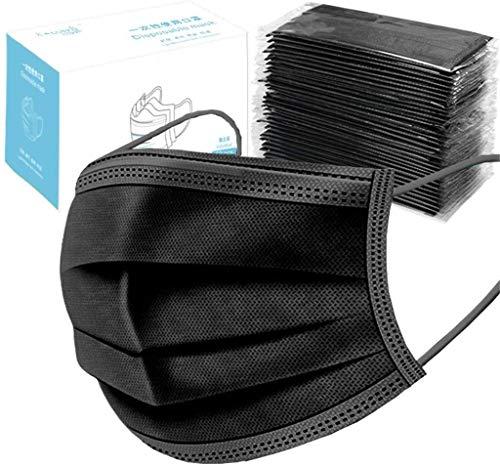 WQW 50 Stück Herren/Damen/Kinder Mundschutz Einmal Baumwolle Mund und Nasenschutz Halstuch Multifunktionstuch (Schwarz)