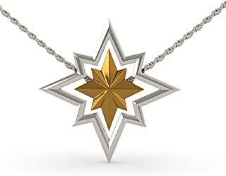 Captain Necklace Star Logo Pendent Detachable Charms 4-Way Wearing Anime Cosplay Accessories Women's Jewelry Silver
