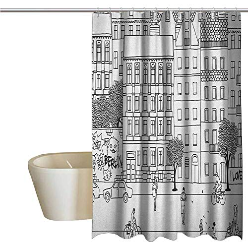 German Rustic Shower Curtain Monochrome Sketch of Berlin Square Hand Drawn Urban Scene with People Image Farmhouse Bathroom Decor W40 x L72 Inch Black and White