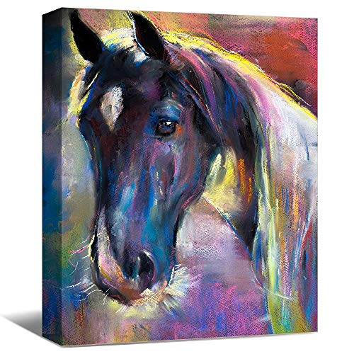 SENEW Animal Canvas Wall Art for Bedroom, Living Room, Office, Watercolor Horse Framed Canvas Art for Home Decor,24' x 36'