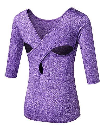 Shengwan Laufshirt Damen Mittlere Ärmel Sportshirt Schnell Trocknend Kreuz Zurück Workout Yoga T-Shirt Violett S