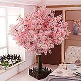 JINER Artificial Peach Blossom Trees Artificial Cherry Blossom Tree Silk Flower 5 Feet Tall 1.5M Artificial Cherry Blossom Trees Light Pink Indoor Outdoor Wedding Decoration