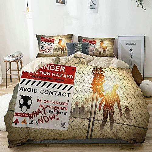 Funda nórdica, Juego de Funda nórdica con Estampado Zombie Dead Man Walking, no Incluye edredón, Juego de Funda de edredón cálido y espesante