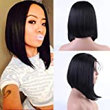 Helene Glueless Lace Front Wigs Short Bob Straight Hair Swiss Lace Natural Black Synthetic Lace Front Wig Natural Hairline Heat Resistant Fiber Lace Wigs For Women With Baby Hair (16Inch Black Color)