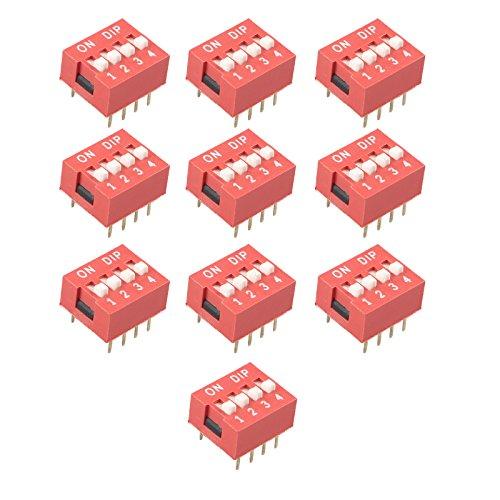 HALJIA 10 piezas Rojo 2.54 mm Pitch 4 Posición Tipo de diapositiva Interruptor DIP