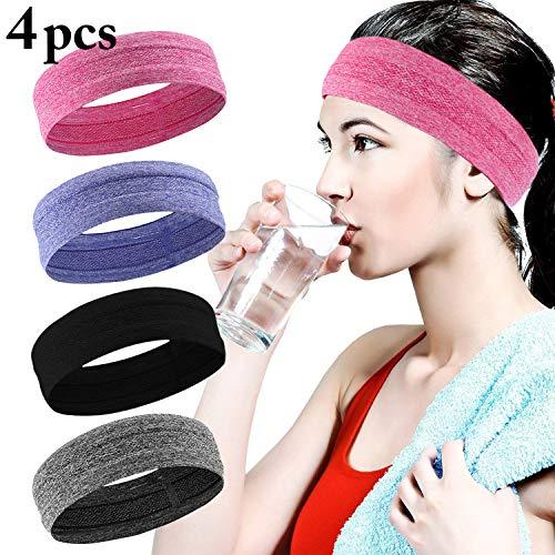 Fascigirl Sport Stirnband, 4 Pcs Schweißband für Frauen Männer Elastische Kopf Band rutschfeste Haarband Sportliche Stirnband Feuchtigkeit Wicking Headwear Haarband für Sport