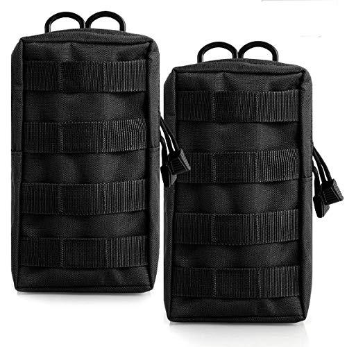 Yinuoday Taktische MOLLE-Taschen im Militär-Stil, kompakte Mehrzwecktasche, EDC-Tasche, Organizer für taktische Westen, Ausrüstung, Hüftrucksack für Camping, Wandern und Reisen, Schwarz, 2 Stück