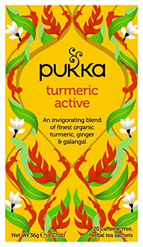 Pukka Turmeric Active, Organic Herbal Tea with Ginger & Galangal (4 Pack, 80 Total Tea bags)