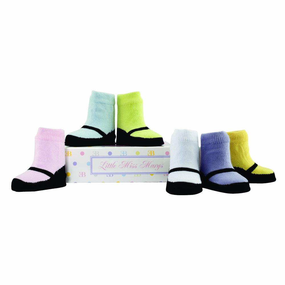 Elegant Baby Little Miss Marys Socks, Pastel/Black, 6 Pack (Discontinued by Manufacturer)