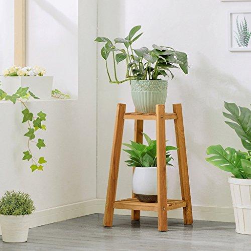 Support en bois de fleur pour le balcon de salon d'intérieur, support à fleur de plancher de bois de pin de 2 étages (Couleur : Couleur du bois, taille : 60 cm)