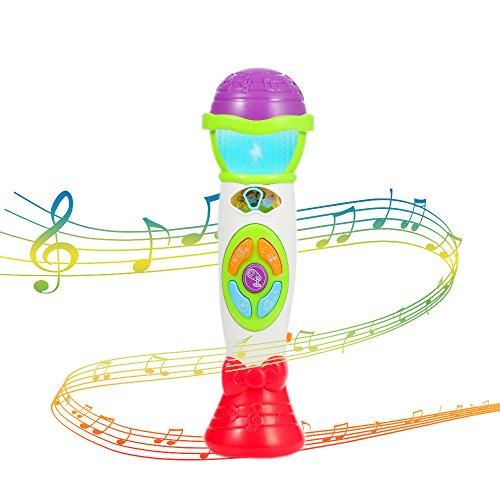 Twister.CK Kids Micrófono Juguete Cambiador de Voz, Juguetes de música para niños pequeños Micrófono - Grabar Reproductor con Sonajero Bebé con Luz Musical Karaoke Juguete de Navidad (Verde)