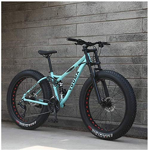 26 inch mountain bike MTB, adult youth Hardtail MTB, carbon steel frame, large tire full suspension Mountain bike (Color : Blue, Size : 21speeds)