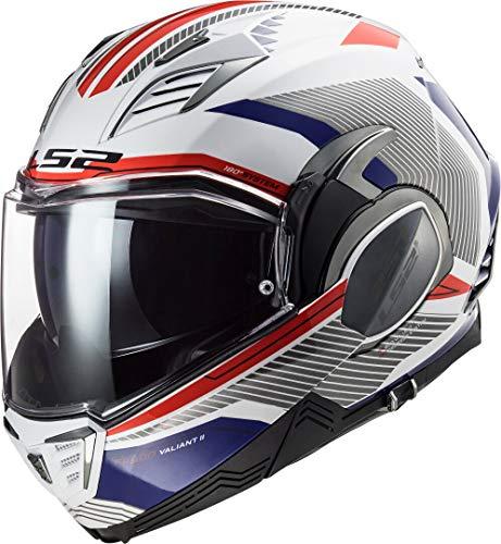 LS2, casco moto modulare VALIANT II revo blu bianco rosso, XXL