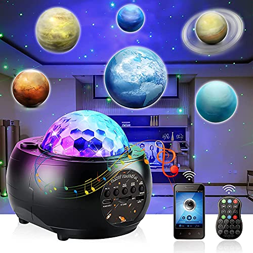 Proyector Estrellas con 10 Planetas, Planetario Proyector Galaxia con Altavoz Bluetooth y Control Remoto, Luz de Noche Infantil Lámpara, Regalo para Niños Adultos Fiesta de cumpleaños Navidad