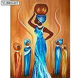 zhuziji 5D-DIY- Pintura de diamanteb Mujeres africanas abstractas Pedrería Hecha a Mano Arte de Kit de Flor de Cristal de Pintura de Diamante completo40x50cm(Sin Marco Diamante Redondo