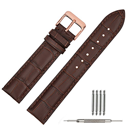 TStrap 20mm Brown Leather Watch Bands Replacement Watch Strap 20mm Rose Gold Watch Buckle Clasp