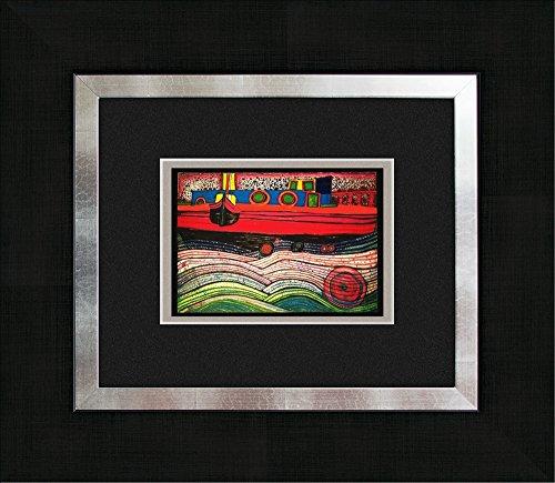 artissimo, Kunstdruck gerahmt, 45x40cm, AG3087, Friedensreich Hundertwasser: Regentag auf Liebe Wellen, Bild, Wandbild, Poster, Wanddekoration