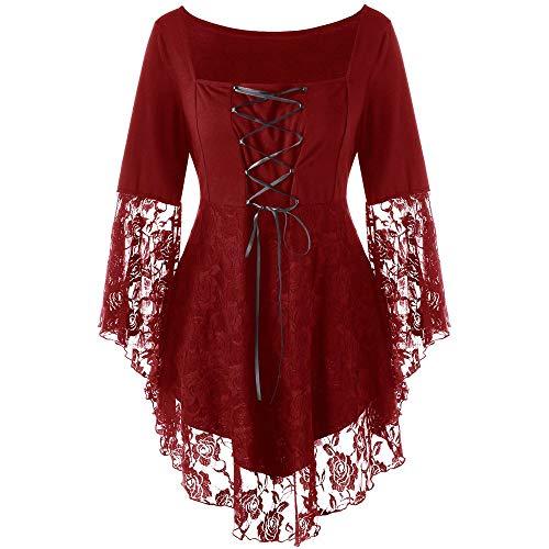 LEXUPE Mode Frauen quadratischen Kragen Blumen schnüren Sich Oben Patchwork Bänder Bluse T-Shirt Top(Wein,XX-Large)