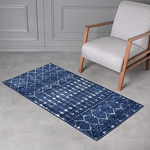 Wayshine Alfombra vintage de pelo corto para salón, dormitorio, cocina, pasillo, tamaño: 80 x 150 cm, oriental (azul real)