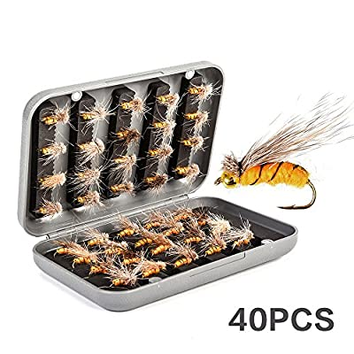 Soradoo Fly Fishing Flies-40/64pcs Dry Fly Fishing Lures Bait Artificial Nymph Flies with Waterproof Fly Box from Soradoo