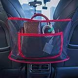 Car Net Pocket Handbag Holder for Purse Phone Documents(Smaller Items),Premium Car Net Organizer Between Seats - Helps as Dog Barrier too, Wovnbusn Car Purse Holder for Car (Red)