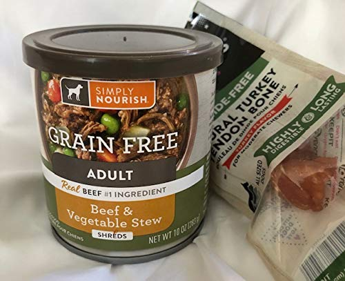 Grain Free Simply Nourish Adult Dog Beef & Vegetable Stew Shreds (4) 10 Ounce Cans