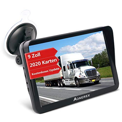 GPS Navi Navigation für Auto LKW PKW Aonerex 9 Zoll Navigationsgerät mit Sonnenschirm POI Sprachführung Fahrspurassistent Europa Maps Lebenslang Kartenupdates
