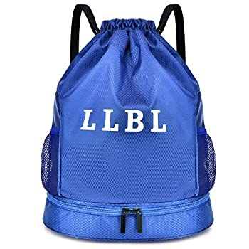 Kayome Drawstring Backpack Gym Cinch Bag - Gym Sport Sack Pack for Women and Men with Waterproof Pocket and Shoe Compartment Blue