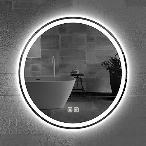 Espejo De Baño Antivaho, Espejo De Pared Redondo, Espejo De Baño Pared con Iluminación LED, Interruptor De Sensor Táctil, Función Antiniebla, con 3 Modos De Color, 20/24 / 27.5/31.5 Pulgadas, IP65