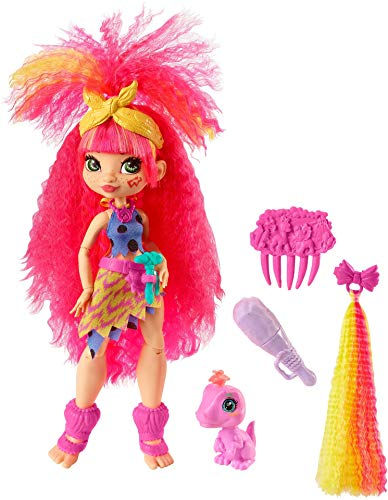 Mattel Cave Club Emberly Doll (10-inch, Pink Hair) Poseable Prehistoric Fashion Doll (Amazon Exclusive)