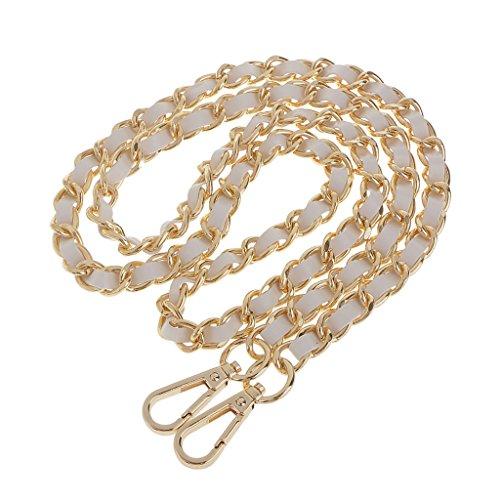 Schultergurt Umhängetasche Silber überzogene Kette PU-Leder Braid Ersatz Schultergurt für DIY-Geldbörsen Handtaschen - Gold + Weiß, one size