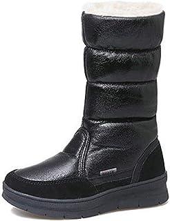 ムートンブーツ スノーブーツ レディース ミドル 厚底靴 ボア付き ふわふわ あったか もこもこ 綿靴 滑り止め 防寒 ウィンターブーツ 可愛い 美脚 雪対応 防滑 お出かけ 安全ブラック シルバー ピンク
