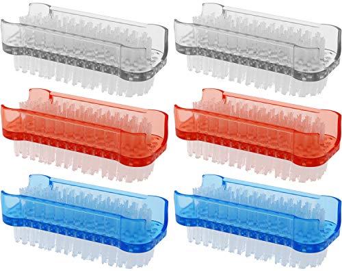com-four® 6X Brosse de Lavage à la Main aux Couleurs Vives - Brosse à Ongles pour Le Nettoyage des Mains et des Ongles [la sélection varie] (6 pièces - Transparent + Rouge + Bleu)