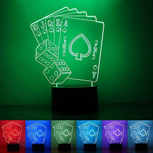 daily supplies Illusion 3D Jouer aux Cartes Veilleuse 7 Couleurs, USB alimenté Lampe de Table Bouton d'éclairage LED, décoration d'éclairage de la pièce pour Enfants Cadeaux Vacances/Anniversaire