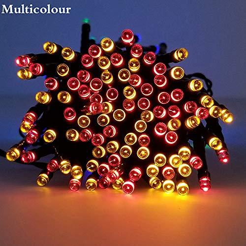 WSYYWD Luci a stringa solari Luci a led impermeabili esterne Decorazione per la casa da giardino per feste di Natale Multicolore 12m 100leds