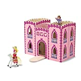 Melissa & Doug Fold & Go Princess Play Castle (Portable Wooden Dollhouse, 4 Play Figures, 4 Furniture Pieces, Frustration-Free Packaging)