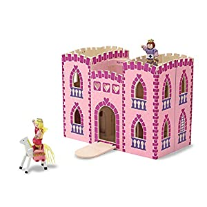 Melissa & Doug Fold & Go Wooden Princess Castle (2 Royal Play Figures, 2 Horses, Frustration-Free Packaging, Great Gift for Girls and Boys - Best for 3, 4, 5, 6, and 7 Year Olds)