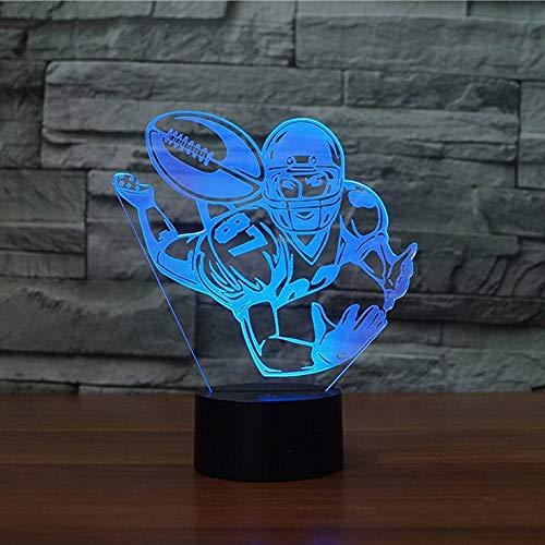 BFMBCHDJ Rugby Fußball 3D Lampe Optische Täuschung Nachtlicht 7 Farbwechsel Tischdekoration Lampen Weihnachtsgeschenk mit Kreativen Spielzeug