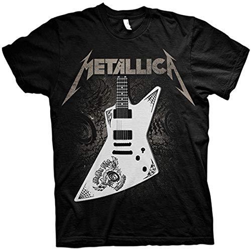 Metallica Papa Het Guitar Hombre Camiseta Negro L, 100% algodón, Regular