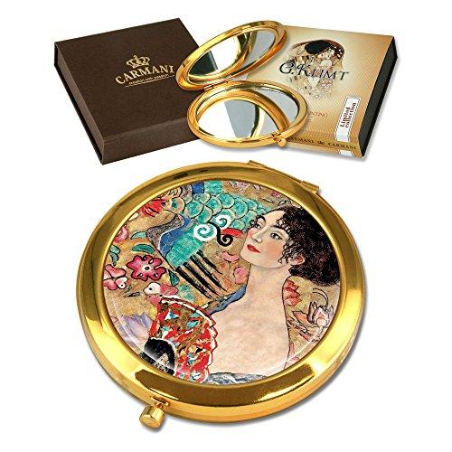CARMANI - Plaqué Or Bronze Poche, Compact, Voyage, Miroir décoré avec de la Peinture de Klimt 'Dame avec des éventails'