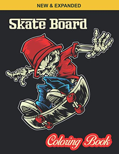 Skate Board Coloring Book: 40 Various Coloring Page illustration - An Kids Coloring Book with Stress Relieving Skate Board Designs for Kids Relaxation.