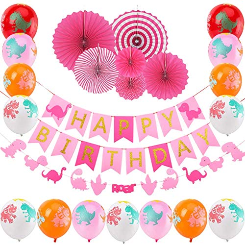 Dinosaur Party Decorations Packs for Baby Girls,Happy Birthday Banner, Dino-mite Garland,Pink Paper Fans, Dino Balloons,Birthday Supplies and Favors Package for Kids First 2nd 3rd Birthday