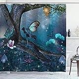 NR Duschvorhang,Zauberwald mit blühenden Blumen Mystical Environment Woods Illustration,Hochwertige Qualität,180x180cm Wasserdicht mit Haken für Badezimmer