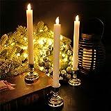 Heinside Sicher 5pcs / Lot führte Batterie Arbeiten Flameless Kegel Kerzenlampe Leuchter Startseite Hochzeit Weihnachtsfeiertags-Tisch Partydekor Bernstein-H24cm Hochzeit (Emitting Color : Amber)